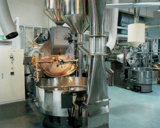 Example installation of 60 kg/30 kg roaster for both charcoal and gas
